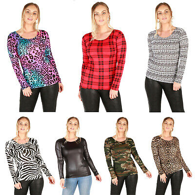 Womens Ladies Long Sleeve Scoop Neck Printed Tops Uk