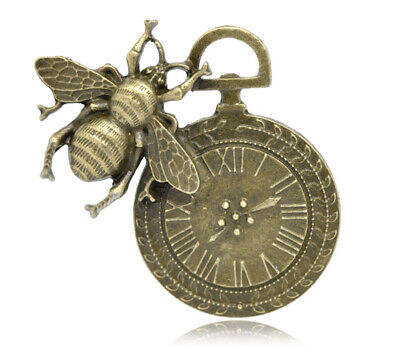 5 Large Quality Antique Bronze Steampunk Bee Pocket Watch~Clock~Pendants (93B)