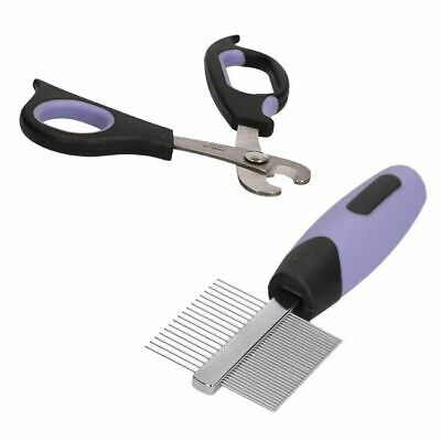 Small Animal Deluxe Claw Trimmer Nail Cutter & Double Sided Comb Grooming Kit