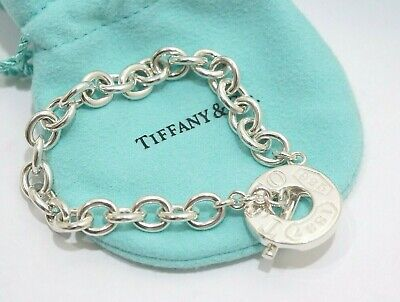 """Auth Tiffany & Co. Sterling Silver 1837 Toggle Bracelet 7.25"""""""