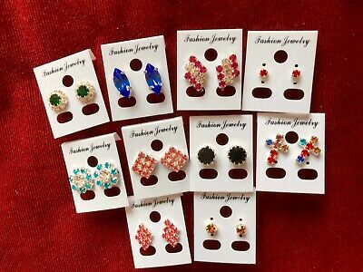 JOBLOT-10 pairs of crystal/colour diamante earring.Silver plated.UK handmade.