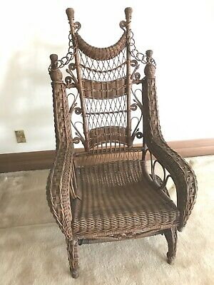 AH ORDWAY Antique Wicker Rocking Chair Glider Victorian Circa 1893