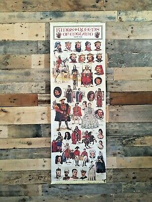 Vintage Kings & Queens Of England From 1066 - 1952 Educational History Poster