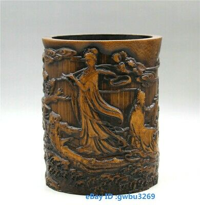 Asian Old China Bamboo Pen holder Hand Carved the Eight Immortals Brush Pot
