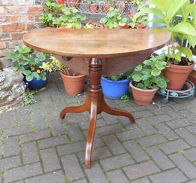 Victorian Oak Tripod Tea Table With Drop Leaf~Good Versatile Hall Or Sofa Table