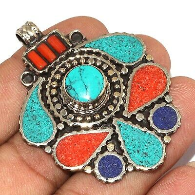"""Va-0222 Red Coral Turquoise Lapis Lazuli 925 Silver Plated Pendant 2.1"""""""
