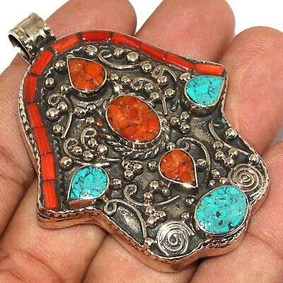 """Va-0225 Red Coral Turquoise Lapis Lazuli 925 Silver Plated Pendant 2.5"""""""