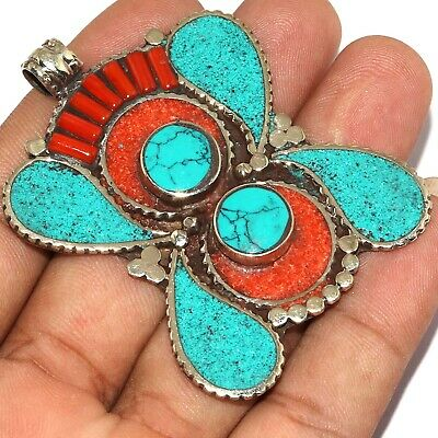 """Va-0210 Red Coral Turquoise Lapis Lazuli 925 Silver Plated Pendant 2.5"""""""