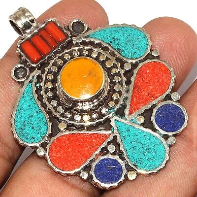 """Va-0203 Red Coral Turquoise Lapis Lazuli 925 Silver Plated Pendant 2.1"""""""