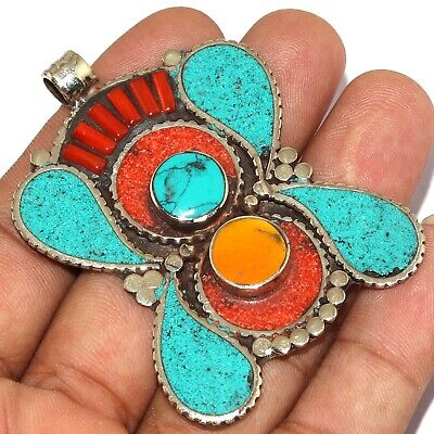 """Va-0215 Red Coral Turquoise Lapis Lazuli 925 Silver Plated Pendant 2.6"""""""