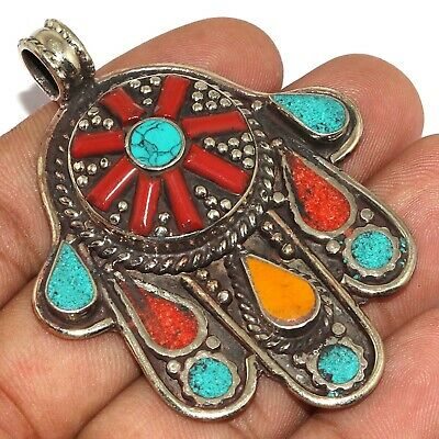 """Va-0223 Red Coral Turquoise Lapis Lazuli 925 Silver Plated Pendant 2.6"""""""