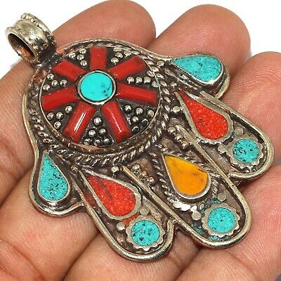 """Va-0213 Red Coral Turquoise Lapis Lazuli 925 Silver Plated Pendant 2.6"""""""