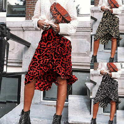 Leopard Print Vintage Long Women's Flow High Waist Pleated Skirt Fashion DA