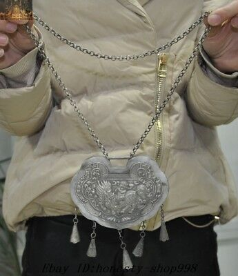 Collect Old Chinese Tibetan Silver Kirin Beast Bell Peace lock amulet necklace