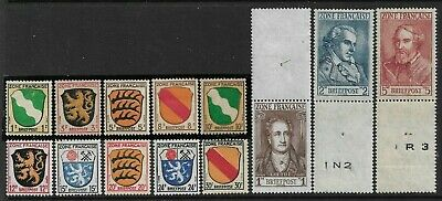 Germany (Allied Occ./French Zone) 1945 - 1946 Arms and Poets Set F1/13 U/M(MNH)