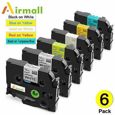 6 Pk Label Maker Tape 12mm Compatible for Brother P-Touch TZ-231 TZe-231 PT-D210