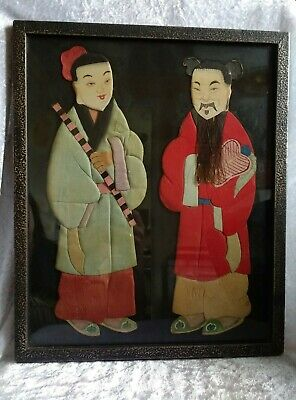 Framed Chinese Textile Picture Early 20th Century Figures