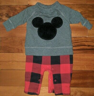 BABY GAP DISNEY infant boys 0-3 months MICKEY MOUSE ears one-piece romper plaid