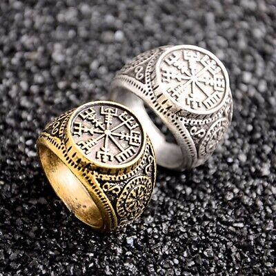 Vintage Viking Vegvisir Compass Norse Nordic Pirate Odin Gold Men Ring Jewelry