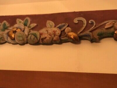 "antique chinese carved wood beam 10' 6"" long; 12"" wide at widest point good con"