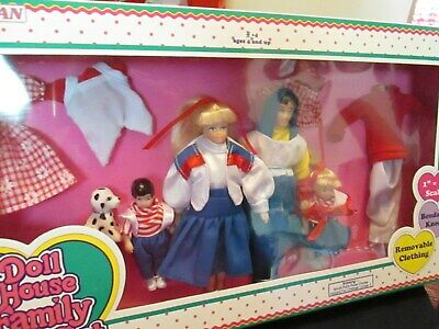 Horsman Doll House Family Play Set - Mom Dad Boy Girl Dog and Doll Clothes