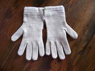 Gloves WOMENS Vintage Retro 1960s KNITTED SHORT NATURAL BEIGE