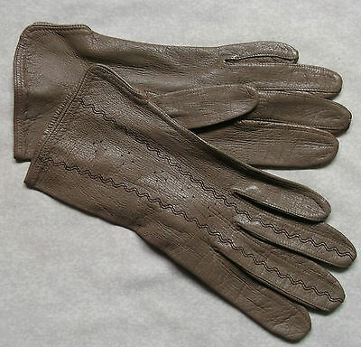 Gloves WOMENS Vintage Retro 1960s 1970s LEATHER SOFT BROWN