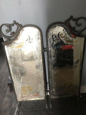 Antique Brass/copper Dressing Table Mirror