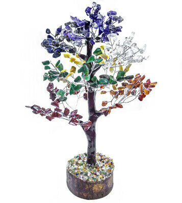 Seven Chakra Silver Wire Aura Cleansing Good Luck Wealth Tree Natural Gemstone