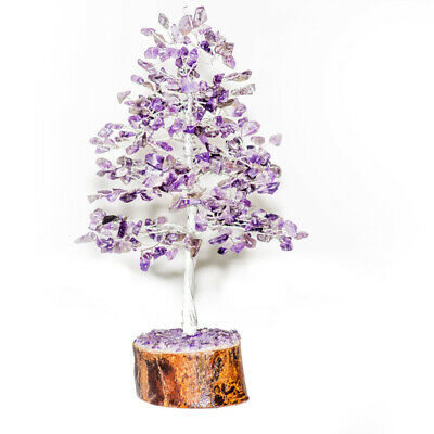 Amethyst Silver Wire Tree Luck Wealth Aura Cleansing Natural Gemstone Crystal