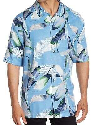 TOMMY BAHAMA SILK EMBROIDERED GARDEN OF PALM BLUEBELL CAMP SHIRT 2XL 3XL NWT