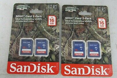 SanDisk SDHC Card Lot Of 4 (2x2Packs) 16GB
