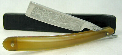 "Antique Wade & Butcher ""You Lather Well..."" Straight Razor Etched Blade Horn Box"