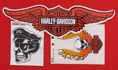 """3 80's Vintage 12"""" HARLEY DAVIDSON Winged B&S Decal Stickers Skull Fire 4"""" Badge"""