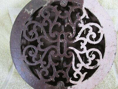Antique Round Heat Vent Grate Register Grille with Louvers, Victorian Pattern