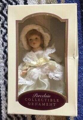Hand Painted Porcelain Doll Collectible Christmas Ornament DG Creations