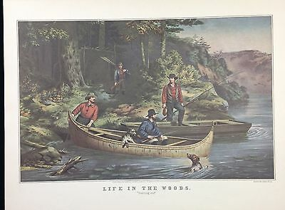 """1952 Vintage Currier /& Ives /""""LIFE OF A FIREMAN THE RUINS/"""" FLAME COLOR Lithograph"""