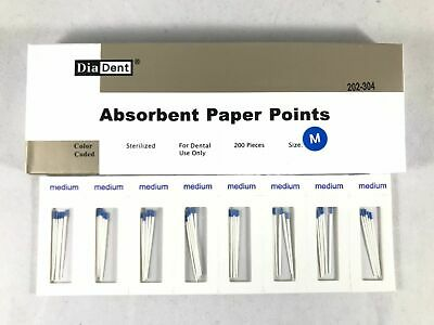 DIADENT Absorbent Paper Points Sterilized Color Coded 200/Pack Cell Pack Size M