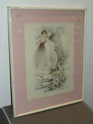 Ancienne Lithographie Angelots Et Jeune Fille Alfred Renaudin Cadre Vitre