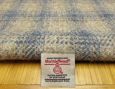 Harris Tweed Grey Blue Check Remnant - with Label