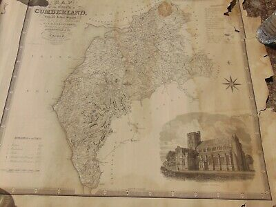 NICELY ENGRAVED ANTIQUE 19th CENTURY GREENWOOD MAP 1830 CUMBERLAND