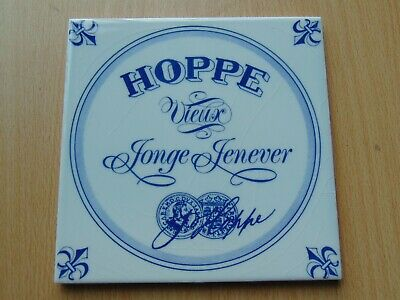 Vintage Dutch Blue + White Hoppe Jenever Advertising Ceramic Tile Brewery