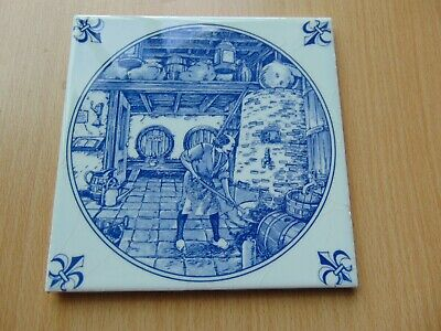 Vintage Dutch Blue + White Ceramic Picture Tile Brewery Brewing