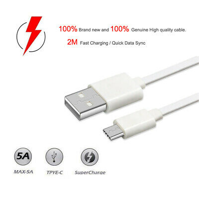 2M Genuine USB To Type-C Super Fast Data Charger Cable Lead For Huawei