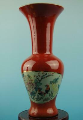 China old hand-made red bottom famille rose bird and flower porcelain vase c01