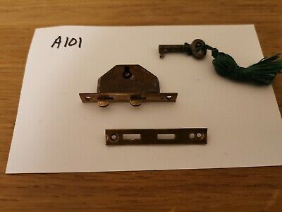 Nice smaller lock and keep with key for antique/vintage writing slope. Brass.