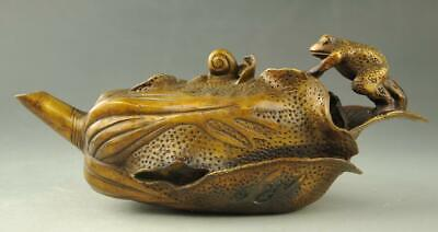 Chinese old copper Hand carved Cabbage Frog Teapot Flagon /xuande mark  e01