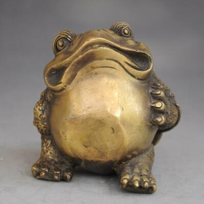 chinese old fengshui pure copper hand-carved Wealth  toad Statue d02