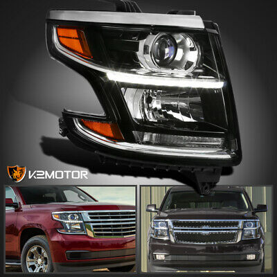 Passenger Side R Fits 2015-2020 Tahoe Suburban LED DRL Projector Headlight Black