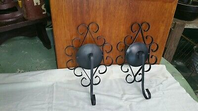 Vintage Pair Wrought Iron Spanish Mission Gothic Wall Hanger